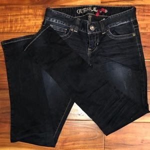 Guess Daredevil distressed dark wash skinny jeans